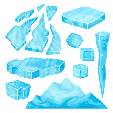 Iceberg, icicle, ice cube and broken pieces. Cold frozen blocks set, arctic snowy objects on white background, icy cliff and ice floe in cartoon style.