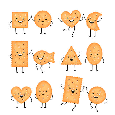 Cracker characters. Funny biscuit cookies in cartoon style. Smiling chips, snack of different shapes - circle, fish and other isolated on white background. Vector illustration Zdjęcie Seryjne - 159550519