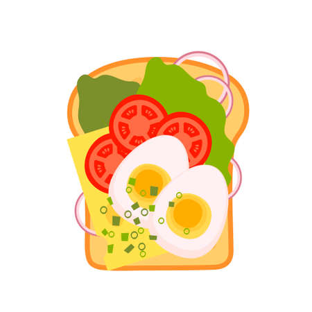 Sandwich top view set. Burger toast for healthy breakfast or lunch on white background. Fast food elements, flat vector illustration.