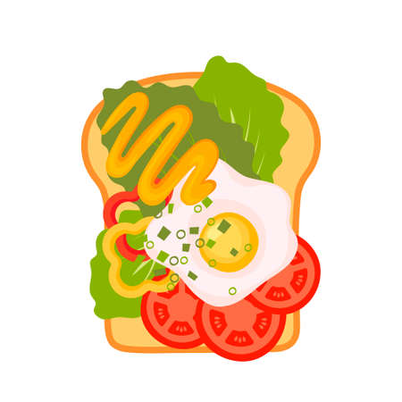 Sandwich top view. Burger toast for healthy breakfast or lunch on white background. Fast food elements, flat vector illustration. Ilustracja