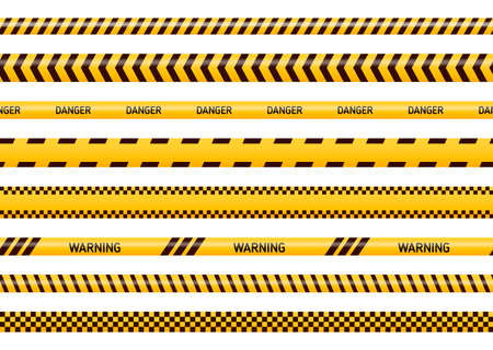 Caution and danger tapes in yellow and black color.