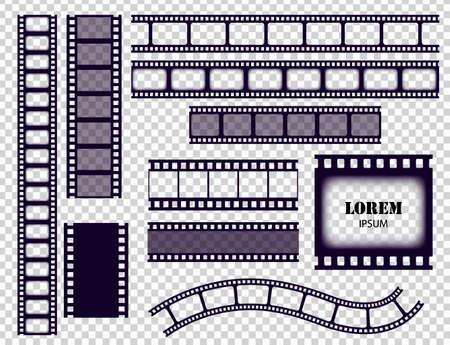 Film strip collection. Cinema border tapes or photo negative isolated on transparent background. Monochrome film stripes set vector illustration Ilustracja