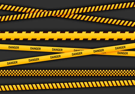 Caution and danger tapes in yellow and black color. Police attention line or under construction ribbon, warning signs collection on black background