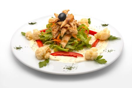 caesar salad with lettuce, chicken meat, red pepper, cauliflower, carrot and one black olive Stock Photo - 534525