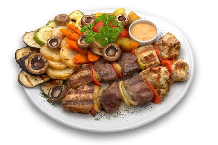 assorted veal chicken and pork kebab with grilled vegetables Stock Photo - 574365