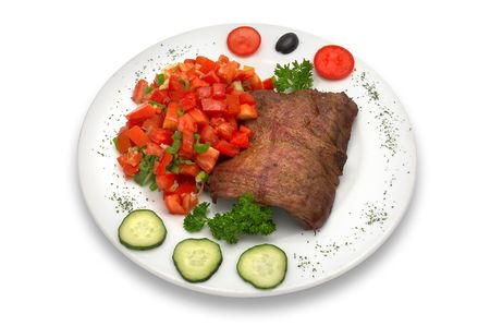 Grilled veal fillet with vegetable salad. Stock Photo - 574353
