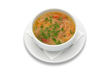 zama, romanian and moldavian chicken soup with home-made noodles Stock Photo - 574348