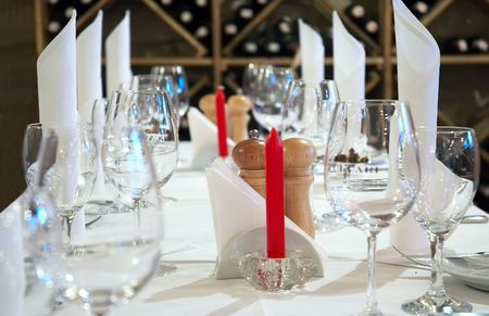 served restaurant table ready for customers photo