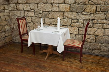 served: served restaurant table ready for customers Stock Photo