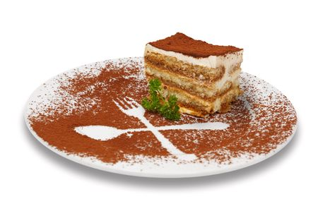 rich flavor: tiramisu dessert served on plate with cpecial decoration. isolated.