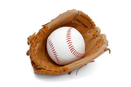 pelota beisbol: Pelota de b�isbol en los ni�os  j�venes de tama�o guante  Foto de archivo