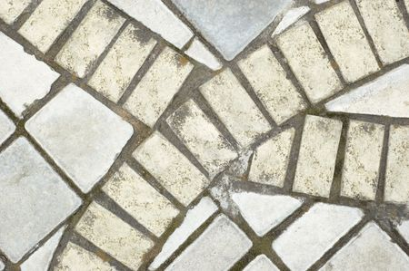 sideway: gray sideway slabs background with mosaic drawing Stock Photo