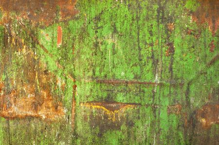 dungy: Rust on dirty old green painted metal surface. Grunge background. Stock Photo