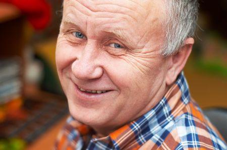 Casual bald senior man emotional portrait series. Stock Photo - 708061