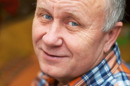Casual bald senior man emotional portrait series. Stock Photo - 708062