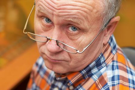 Casual senior man with glasses. Emotional portrait series. Stock Photo - 708063