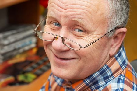Casual senior man with glasses. emotional portrait series. Stock Photo - 708070