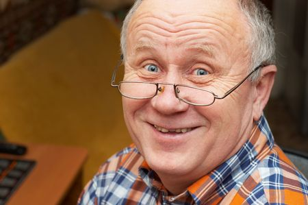 Casual bald senior man with glasses are smiling. Emotional portrait series. Stock Photo - 708071