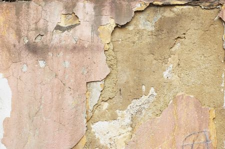 Cracked dirty stucco on the wall. Grunge background. Stock Photo - 708041