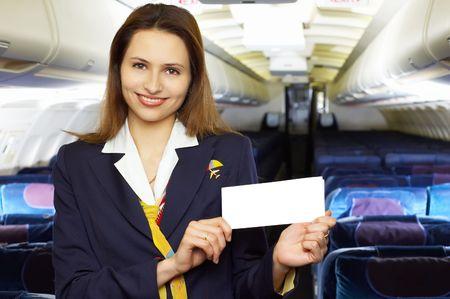 air hostess: S�rie: h�tesse de l'air (h�tesse de l'air) dans le vide de l'avion avec cabine