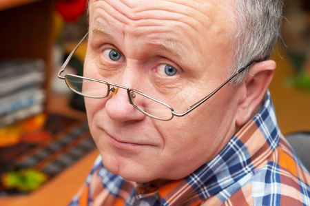 Casual senior man with glasses. emotional portrait series. Stock Photo - 823470