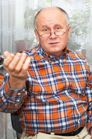 Casual bald senior man emotional portrait series. Stock Photo - 823472