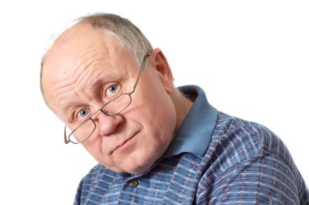 Bald senior man with glasses. Emotional portraits series. Isolated on white. Stock Photo - 830004