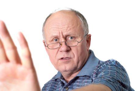 Bald senior man's gesture Stock Photo - 830006