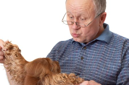 Bald senior man with dog. Emotional portraits series. Isolated on white. Stock Photo - 844226