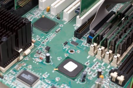 mainboard: computer mainboard with processor, extension slots and memory