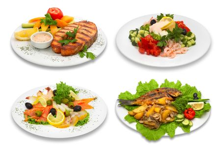 gourmet meal: Four fish dishes. This image was created using four different shots. Stock Photo