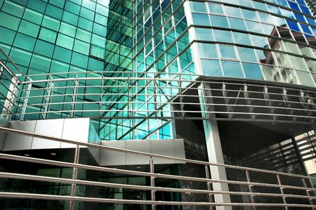 mirror-walled business center with reflection of cloudy sky Stock Photo - 1807394