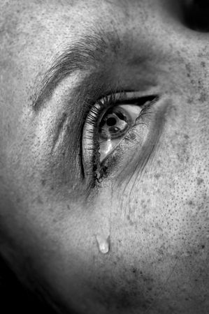 crying womans eye, black and white image, low key, selective focus photo