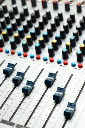 electronic balance: closeup of professional sound mixer. selective focus