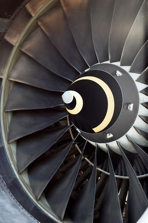 airplane part, closeup of jet engine turbine blades