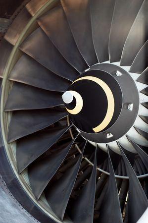 aerospace: airplane part, closeup of jet engine turbine blades