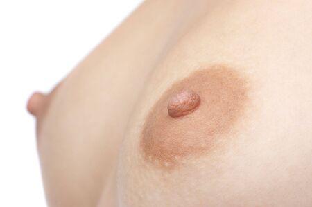 pecho desnudo con el foco selectivo de la entrerrosca, aislado en blanco. Foto de archivo