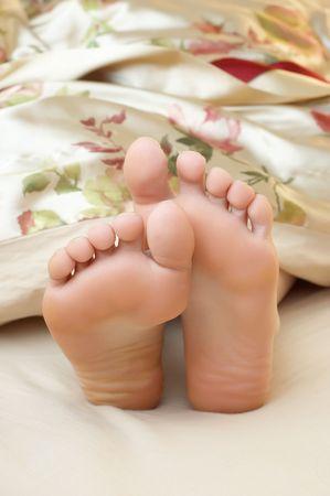 schlafende Frau niedlichen Füße  Standard-Bild