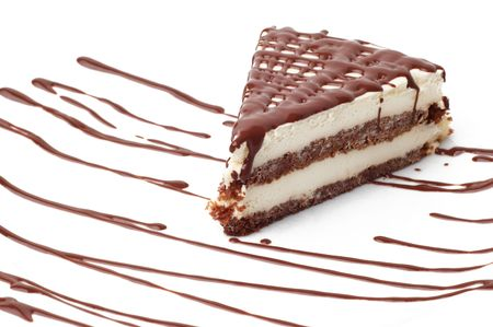 tiramisu dessert with chocolate decoration. isolated.