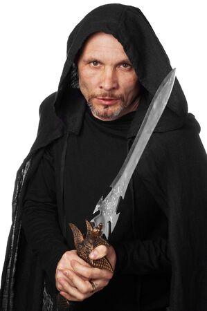 sotana: Monje guerrero con fantas�a espada en la mano