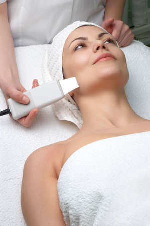 woman getting ultrasound skin cleaning at beauty salon Stock Photo - 2933535