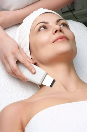 woman getting ultrasound skin cleaning at beauty salon Stock Photo - 2954569