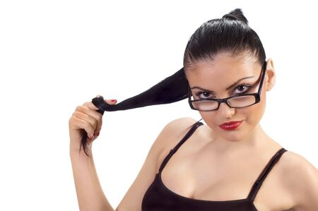 portrait of flirting cute brunette with glasses Stock Photo - 3001578