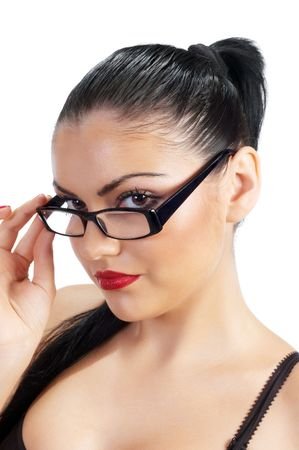 potrait of flirting cute brunette with glasses photo
