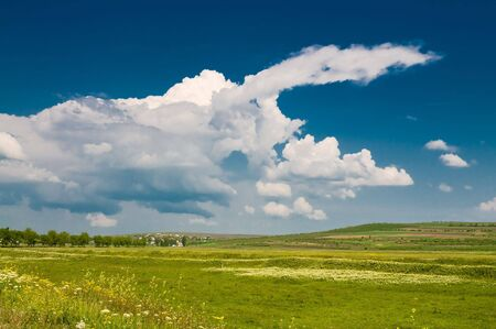 summer rural landscape with beautiful cloudy sky
