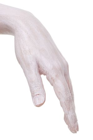left hand: left hand with moisturiziing cream applied, isolated on white Stock Photo