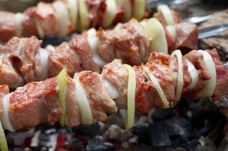 preparing kebab at outdoors picnic using photo