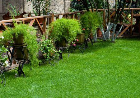 vac�o bien decoradas caf� al aire libre con gran cantidad de hermosas plantas