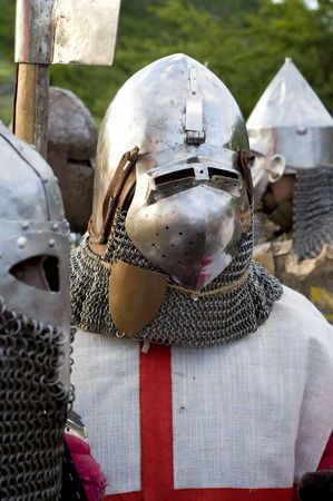 teutonic: Man wearing costume of teuton armoured knight or infantry, end of XIV century. Stock Photo