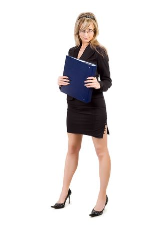 file clerk: young blond businesswoman holding folder, isolated on white